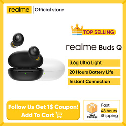 realme Earphones BudsQ TWS Ture Wireless Bluetooth 5.0 Open-up Auto Connection 20h Battery Life Charging Box Ultra Light 3.6g