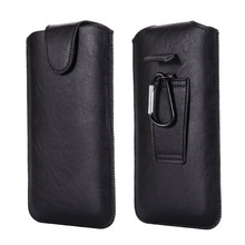 Universal Holster Belt Phone Case 4.7-6.7 inch For iPhone Samsung Huawei Xiaomi LG Smart Phones Leather Ultra-thin Waist Bag