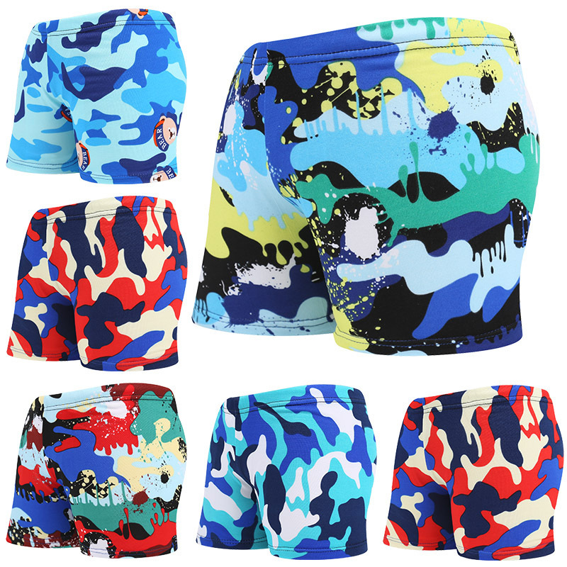 New Style CHILDREN'S Swimming Trunks Printed Boxer Cartoon Baby BOY'S Shorts Big Virgin Boy Beach Bathing Suit