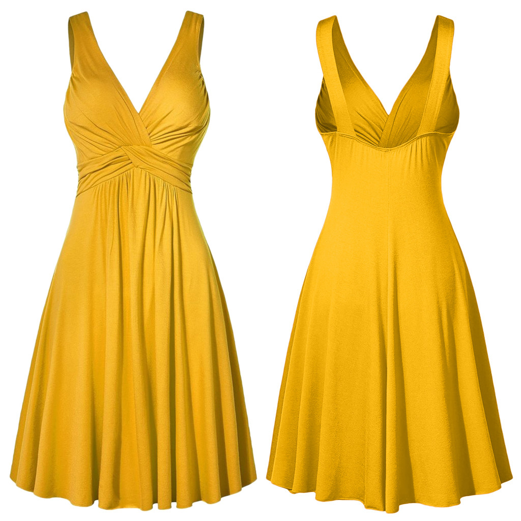 Plus Size XL-<font><b>5XL</b></font> Women's V-neck <font><b>Dress</b></font> Ball Gown Retro Sling Pleated Slim Flare Female Party <font><b>Dresses</b></font> vestidos de fiesta de noche image