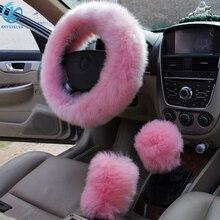 KKYSYELVA الفراء الوردي الدافئة عجلة توجيه سيارة غطاء الشتاء الأسود السيارات الداخلية اكسسوارات 38 سنتيمتر السيارات المقود يغطي