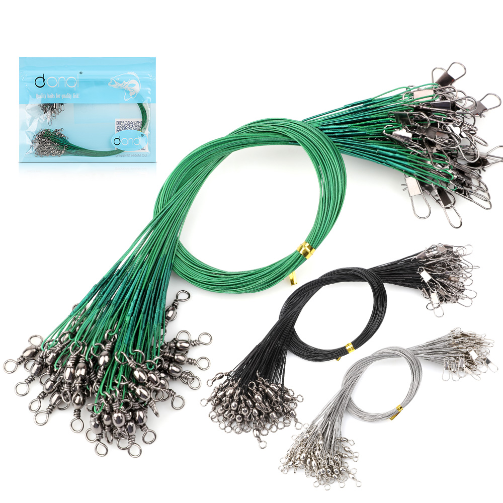 DONQL 60 Pcs Fishing Leash Anti Bite Steel Line With Swivel Connector Leader Resistant Tension Fishing Wire Tackle Accessories