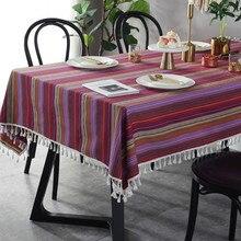 2019 último mantel de alta calidad Vintage Arco Iris a rayas cubierta de mesa con borla blanca bohemio mantel decorativo para el hogar