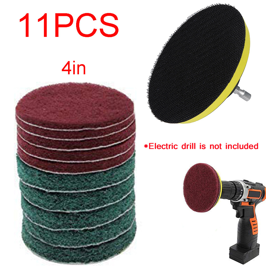 11pcs/Set Cleaning Kit Scouring Pad 100mm M10 Thread 1/4\