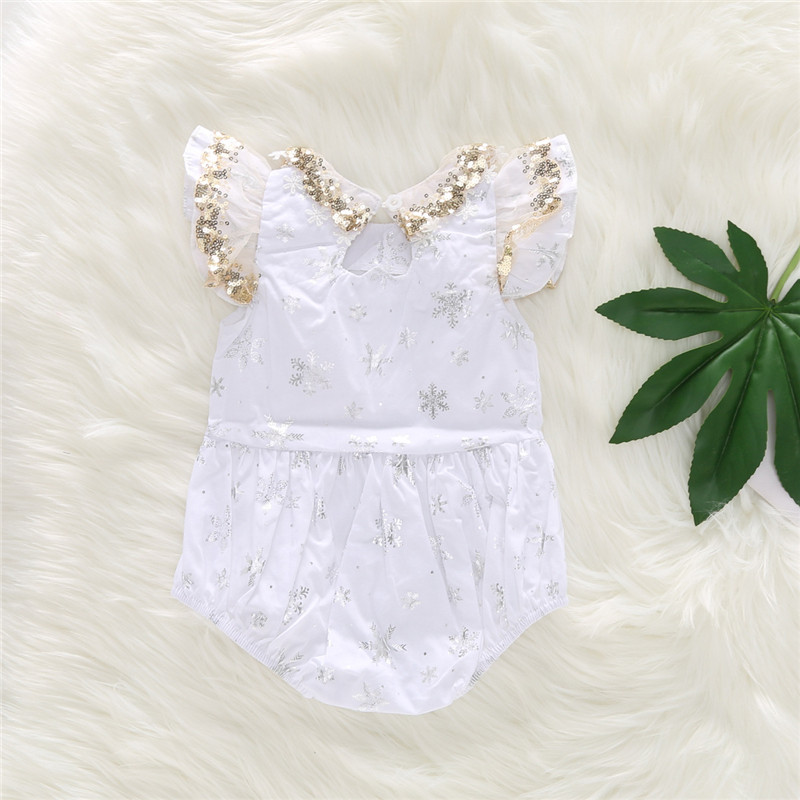 0 24M baby girl bodysuit sequin lace appliques silver snow print baby girl onesie little girls clothing girls summer clothes in Bodysuits from Mother Kids
