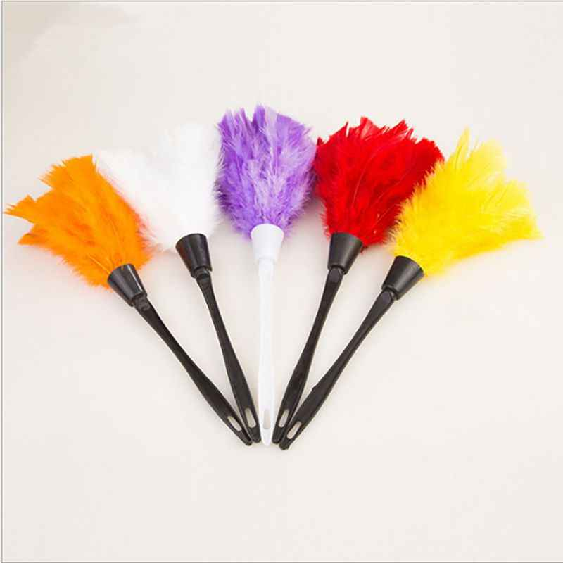 1pc Multicolor Anti Static Feather Duster Dust Brush Plastic Handle Keyboard Dusting Broom for Household Cleaning Tools