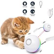 Bola de Gato elegante automática para gatos y gatitos, juguete interactivo de hierba gatera, recargable por USB, con luces Led de colores