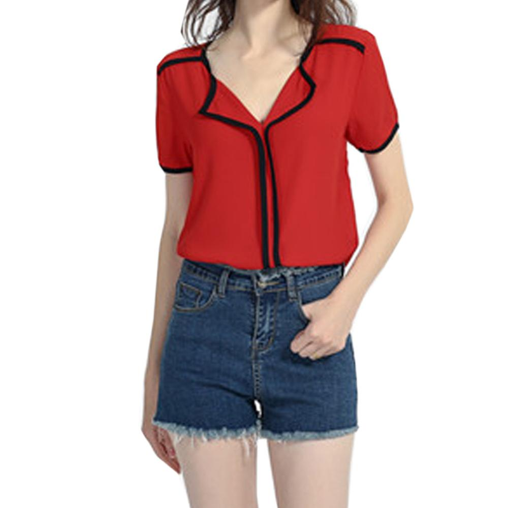 Female Summer Short Sleeves V Neck T Shirt girl Pure Color Casual Basic Tops Women's fashion tie casual top poleras de mujer