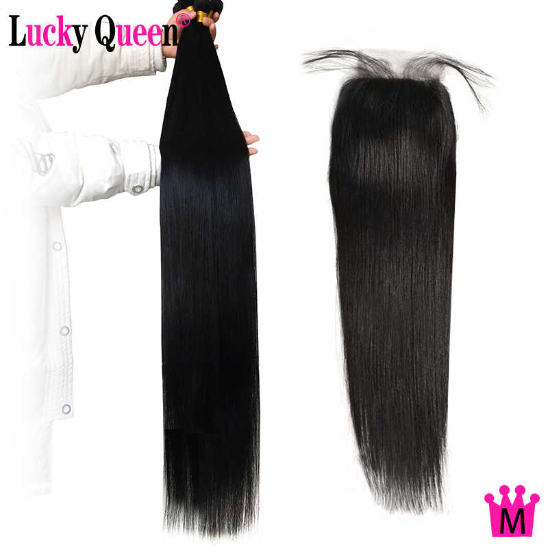 "Peruvian Straight Hair 3/4 Bundles With Closure 8""-30"" Non-remy Human Hair Bundles With Closure  Lucky Queen Medium Ratio hair"