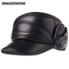 SHALUOTAOTAO Mens Flat Cap Genuine Leather Hat Trend Quality Sheepskin Military Hats Thicken Thermal Velvet Earmuffs Brand Caps
