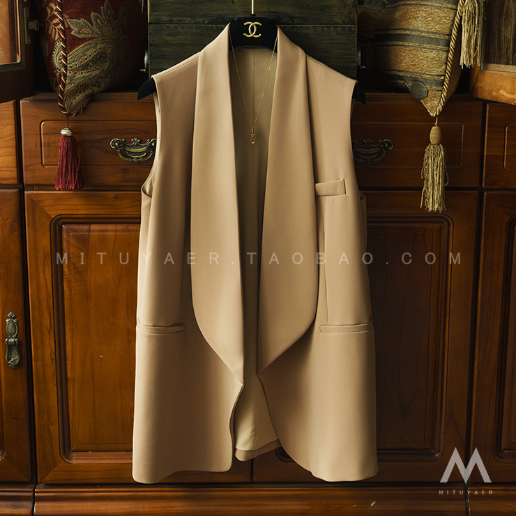 Cool And Handsome Green Fruit Collar Sleeveless Mid-length Waistcoat With Good Stylish Temperament