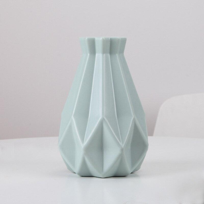 Цветочная ваза для украшения интерьера пластиковая ваза белая имитация керамического цветочного горшка Цветочная корзина скандинавские декоративные вазы для цветов - Цвет: Green1