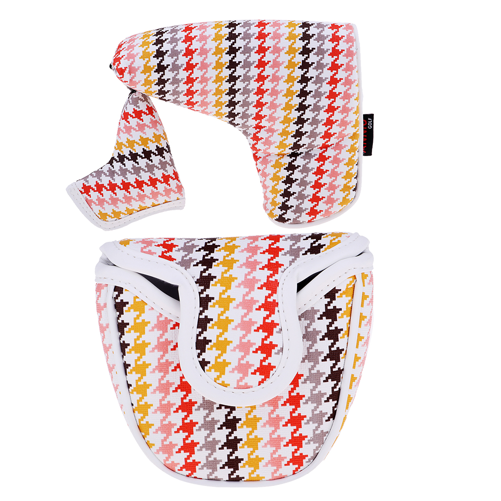 Premium PU Blade Putter Cover With Little Hat Mallet Putters Headcover Guard With Magnetic Bar Closures Golf Accessories