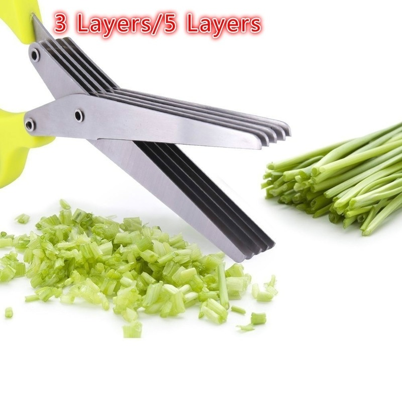 Multifunctional Kitchen Knives Stainless Steel Scissor 3/5 Layers Spices Chopped Green Onion Cut Scissors Mini Scissors