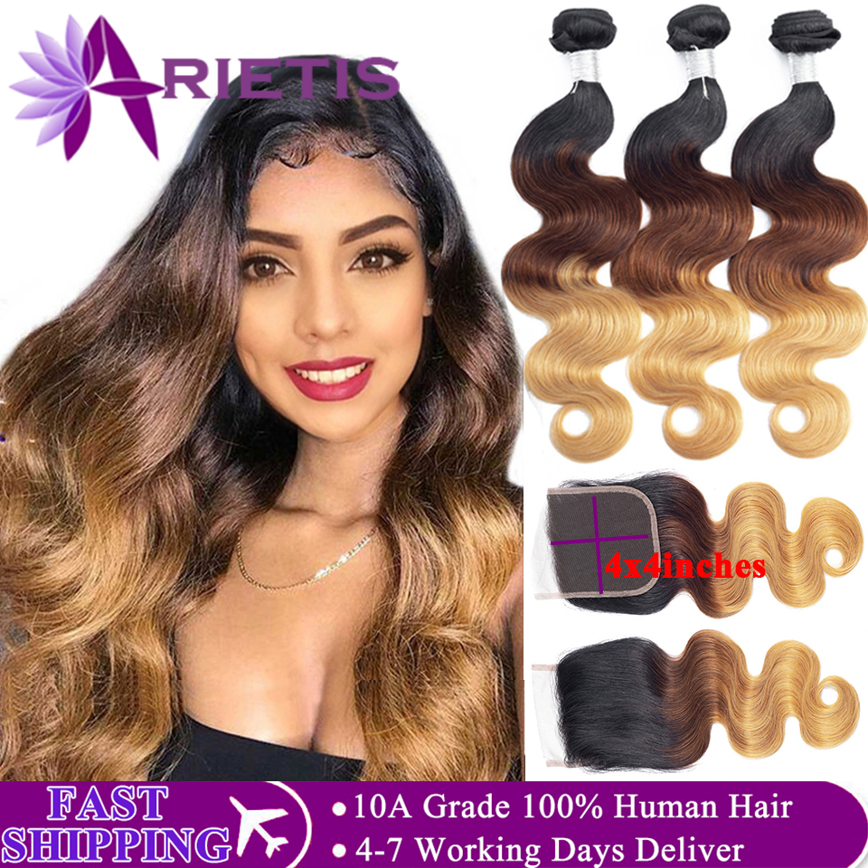 Arietis Peruvian T1b/4/27 Body Wave Bundles With Closure Double Weft Remy Human Hair 3 Bundles With 4x4 Lace Closure FAST SHIP