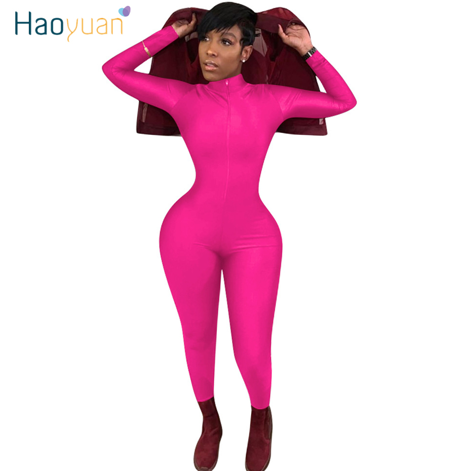 HAOYUAN Neon Zip Up Sexy Long Sleeve Bodycon Jumpsuit Rave Body Overalls One Piece Outfit Plus Size Club Rompers Womens Jumpsuit