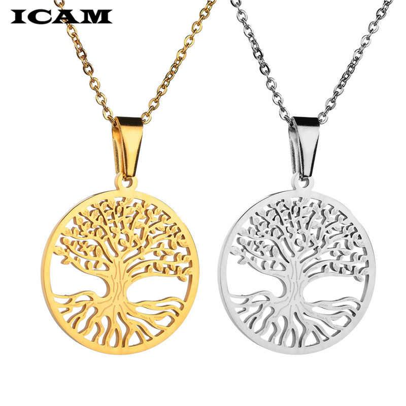 ICAM แฟชั่นสแตนเลส Tree Of Life สร้อยคอจี้ totem ศาสนา collares populares งานแต่งงานวันวาเลนไทน์เครื่องประดับ