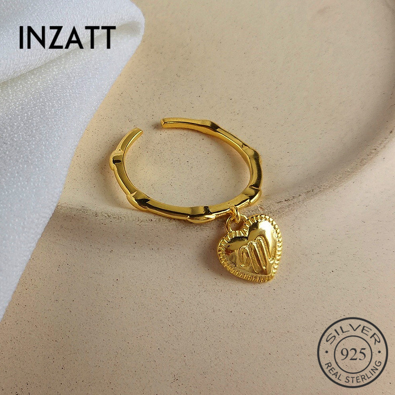 INZATT Real 925 Sterling Silver Letter M Heart Adjustable Resizable Ring For Women Fine Jewelry Minimalist Accessories 2019