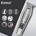 Kemei машинка для стрижки волос с ЖК-дисплеем, Мужская бритва для бороды, электрическая машинка для стрижки волос, Беспроводная Машинка для ст...