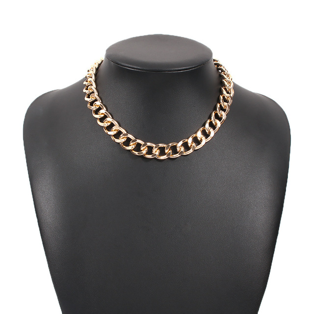 2021 Fashion Big Necklace for Women Twist Gold Silver Color Chunky Thick Lock Choker Chain Necklaces Party Jewelry 4