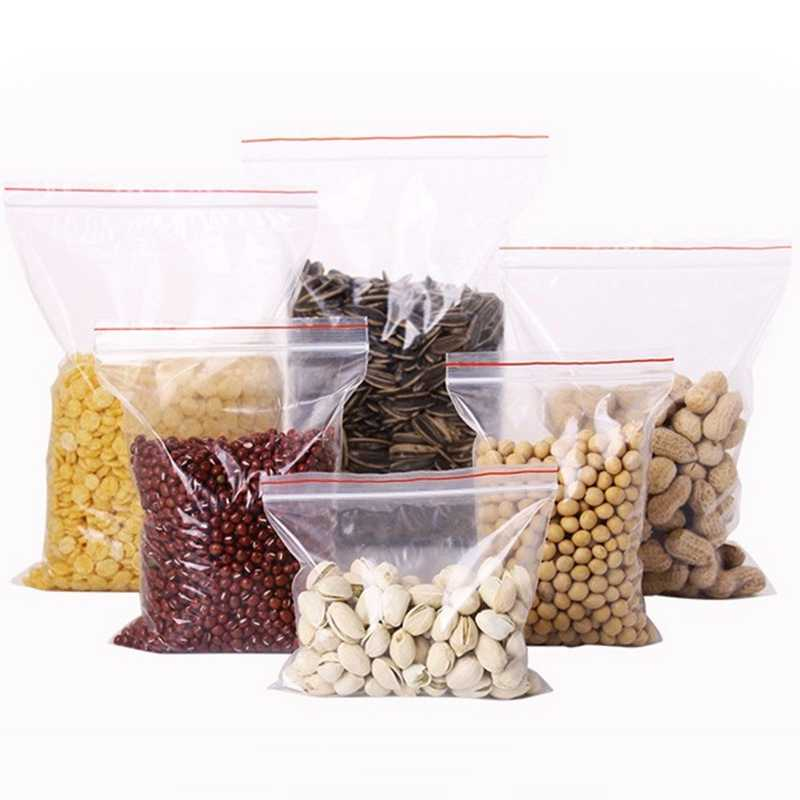 100pcs אחסון שקית נעילת מיקוד פלסטיק שקיות אריזת חטיף ברור שקוף מזון שקית אחסון ארגונית עבור שוקולד סוכריות