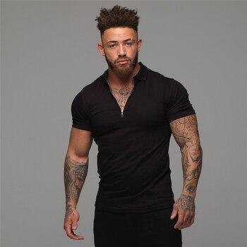 Muscleguys-Polo de moda para hombre, camisa informal de manga corta de Color liso, ajustada, de alta calidad, para Fitness 1