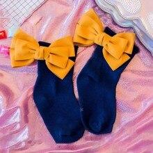 купить Cute Children Socks Toddlers Girls Socks Big Bow Knee High Long Soft Cotton Lace baby Ankle Socks Breathable Kids Socks дешево