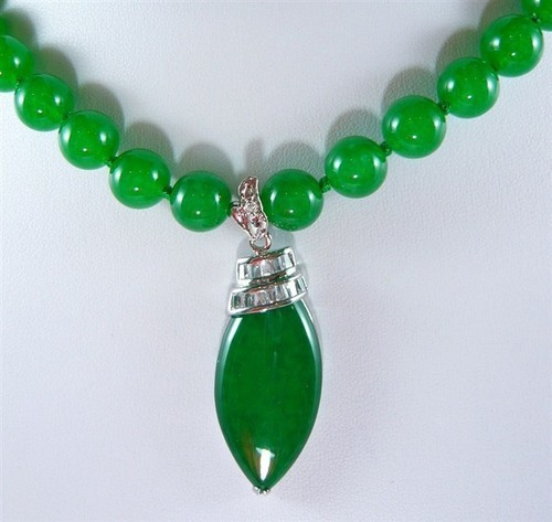 Noblest Lady's 10mm Green Natural Jade  Necklace 17 Inch