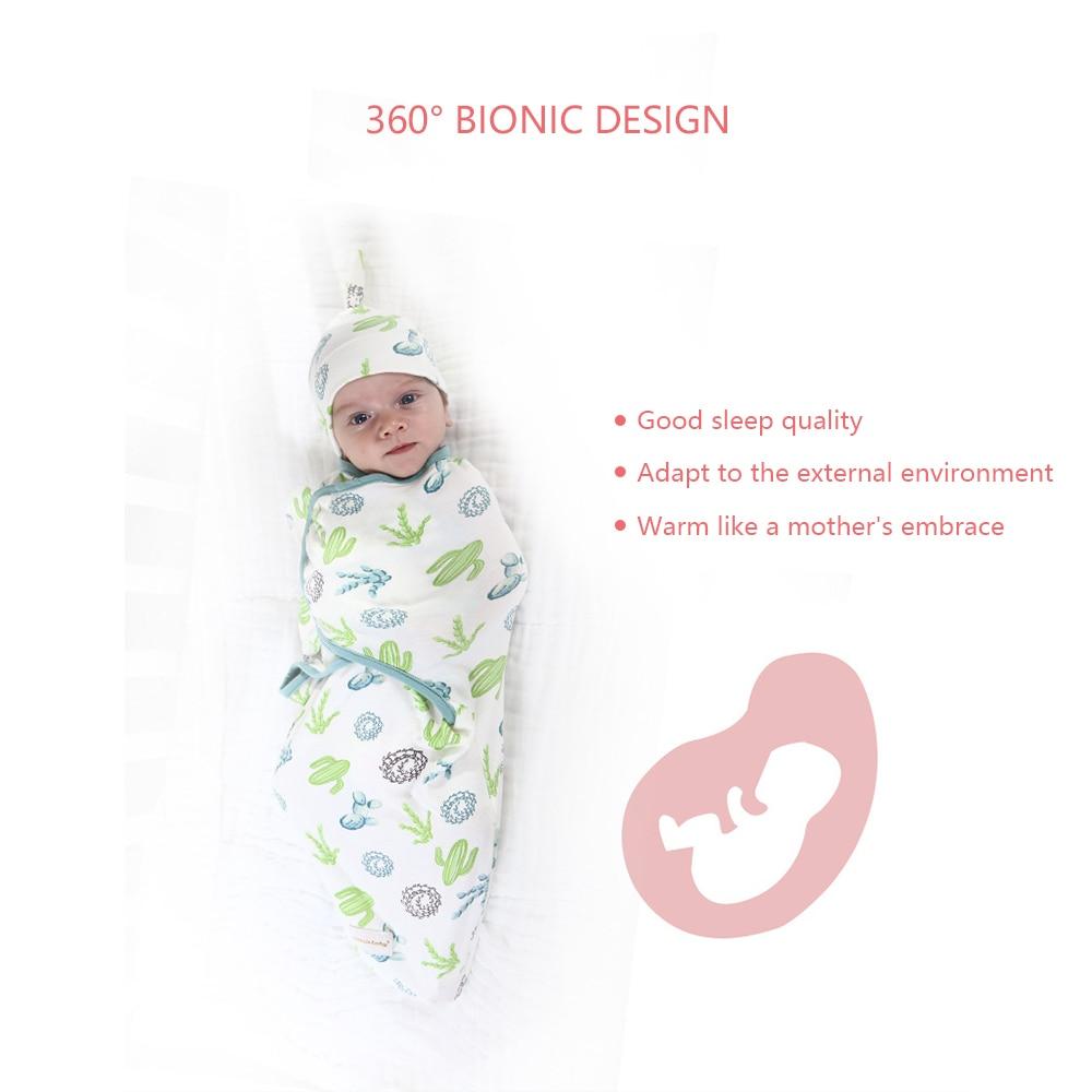 Nou-născut înveliș de umplut plus pălărie bumbac bebeluș - Așternut - Fotografie 4