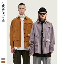INFLATION DESIGN Men Shirt Loose Fit Long Sleeve Men Shirt Solid Color With Grandad Collar Streetwear Oversized Men Shirt 92153