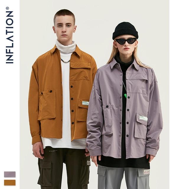INFLATION DESIGN koszula męska luźny krój z długim rękawem koszula męska Solid Color z Grandad Collar Streetwear Oversized koszula męska 92153