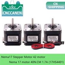1/3/5PCS Nema17 Stepper Motor 42 motor Nema 17 motor 40N.CM 1.7A (17HS4401-DuPont) motor 4-lead for 3D printer