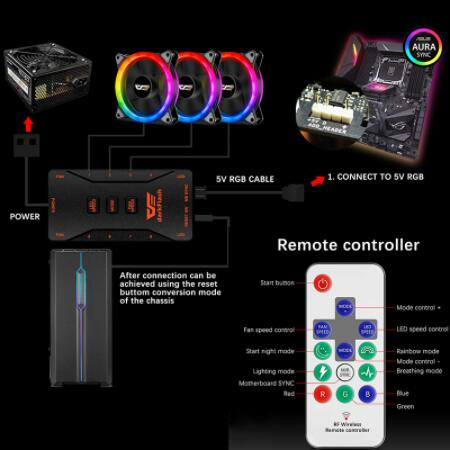 Darkflash DR12 PRO aura sync 120mm Cooling Fan RGB Adjustable speed Adjust LED 12cm Double halo pc computer Cooler argb Case Fan 4