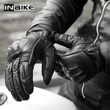 INBIKE Goat Leather Gloves Motorcycle Men Motorbike Gloves Shock Absorb Pad Protective Gear Motor Carbon Fiber Motorbike Gloves