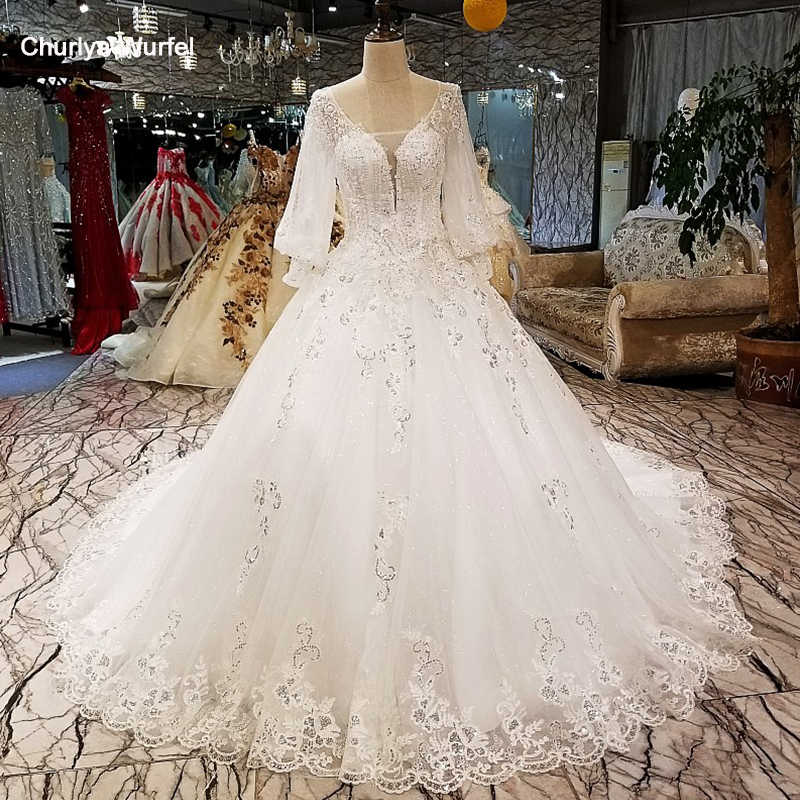 LS3210 lantern long sleeves wedding dress sequined v neck wedding gown quick shipping from china online shop vestido de novia