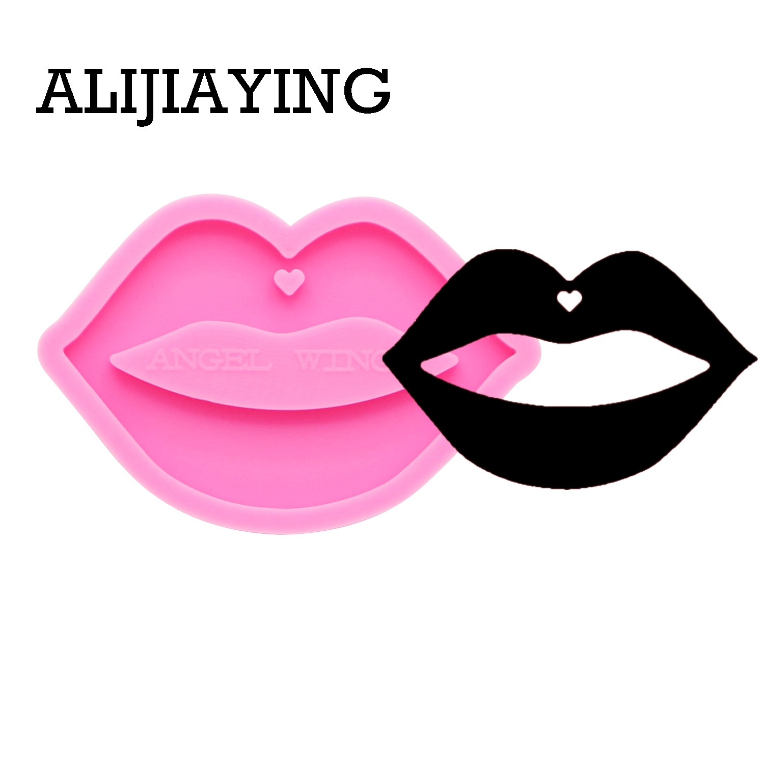 DY0170 Glossy Lips keychain silicone mold DIY mouth craft keyring pendant jewelry keychains mould