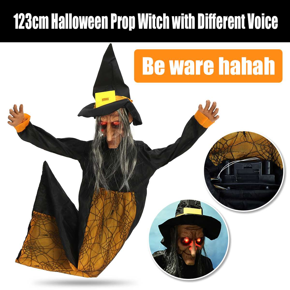 Halloween Scary Props Electric Horror Toys Hanging Witch Ornaments Eyes Glowing Screaming Witch Pendant Ghost Party Decorations