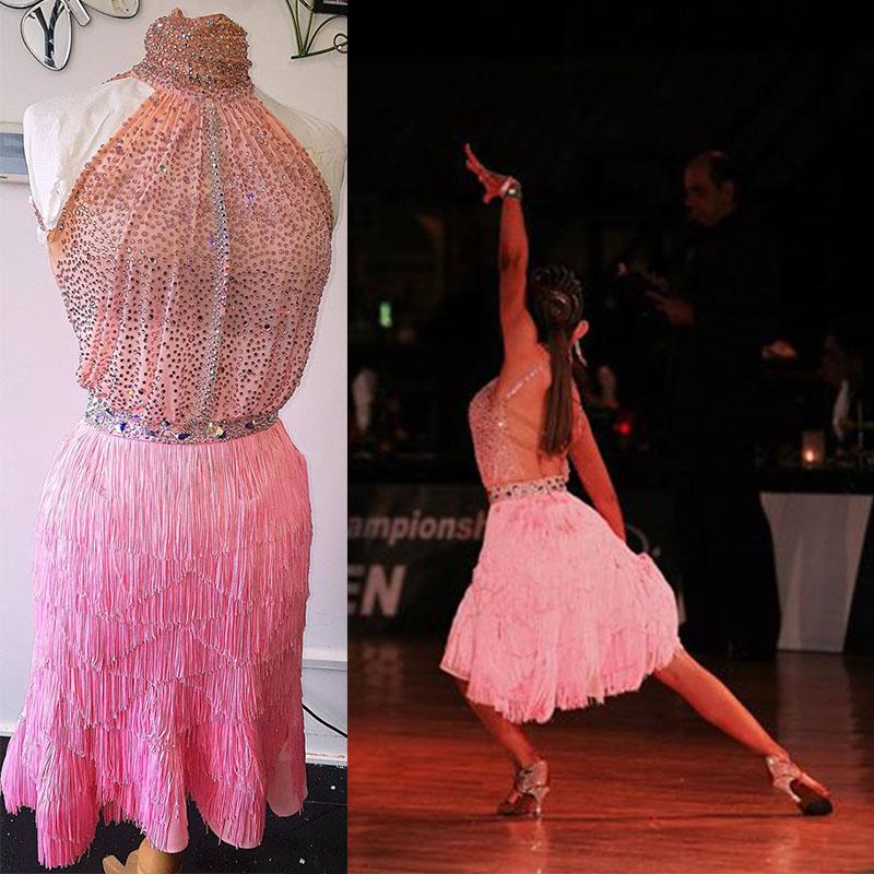 Pink Fringed Latin Dance Dress Sexy Backless Rhinestone Latin Dance Competition Costume Salsa ChaCha Custom-made Dance Dress