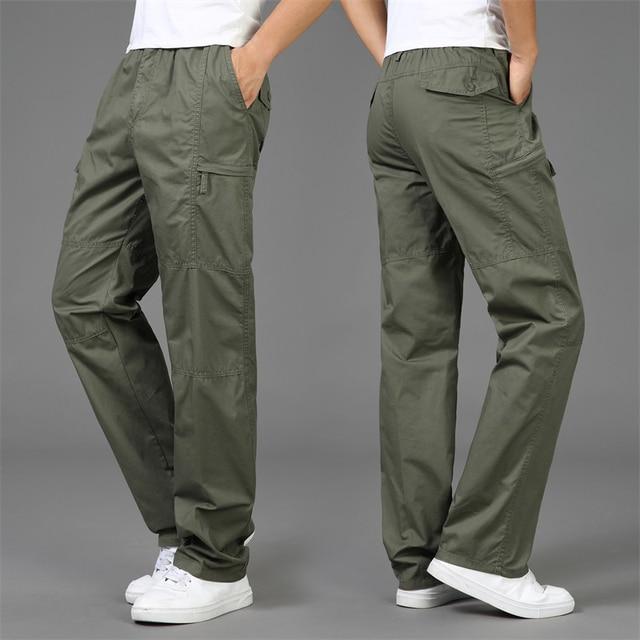 2020 Autumn Fashion Men Pants Casual Cotton Long Pants Straight Joggers Homme Big Size 5XL Comfortable Loose Trousers for Men