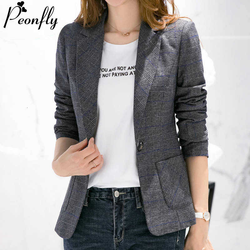 PEONFLY Mode Plus Size Vrouwen Blazer Retro Plaid Gedrukt Single Button Jas Casual Slim Vintage Veste Femme
