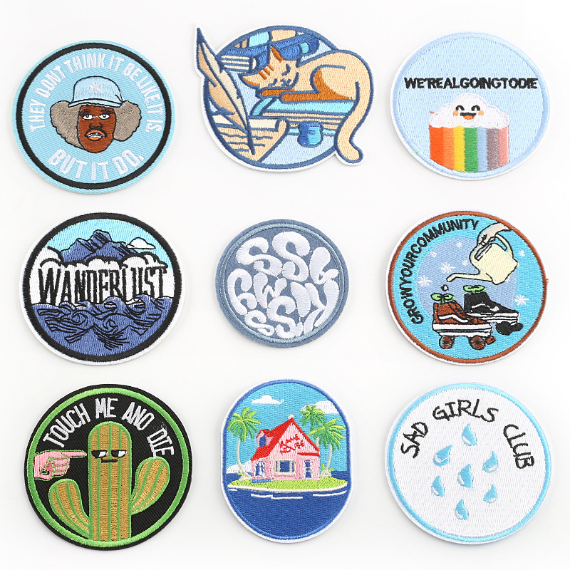Iron on Patches for Clothing Stripes Cartoon Round Letter Badges Stickers on Clothes for Kids DIY Appliques Embroidered Patches
