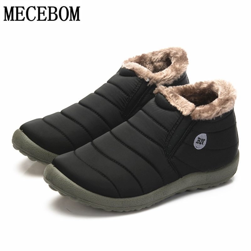 Winter Mens Snow Boots Plus Size 48 Waterproof Plush Ankle Boots Slip-on Warm Fur Lovers Shoes Lightweight Snow Boot Male 816m