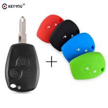 KEYYOU-funda de llave de control remoto para coche, carcasa Fob de 2 botones para protector antipolvo para Renault Clio DACIA 3 Twingo Logan Sandero Modus con cuchilla sin cortar NE72