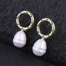 2019 Fashion Jewelry Accessory Acrylic Pearl Drop Earrings For Women Gift Alloy Circle Dangle Earrings metal artificial pearl circle drop earrings