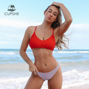 Image 1 - CUPSHE rouge blanc et bleu Bikini à bretelles ensembles femmes Sexy croix et cravate dos string deux pièces maillots de bain 2020 plage maillots de bain
