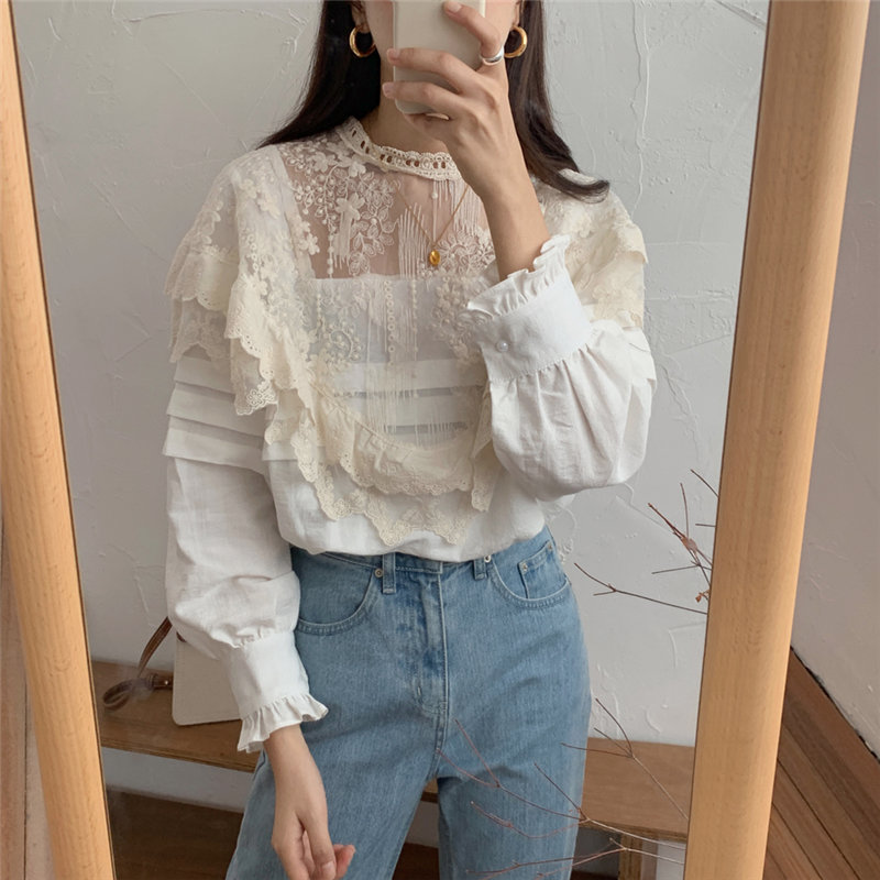 Alien Kitty Sweet Vintage Elegance Patchwork Cute Blouses 2020 Retro Women Lace Chic Basic Casual Shirts Vestido Robe Mujer