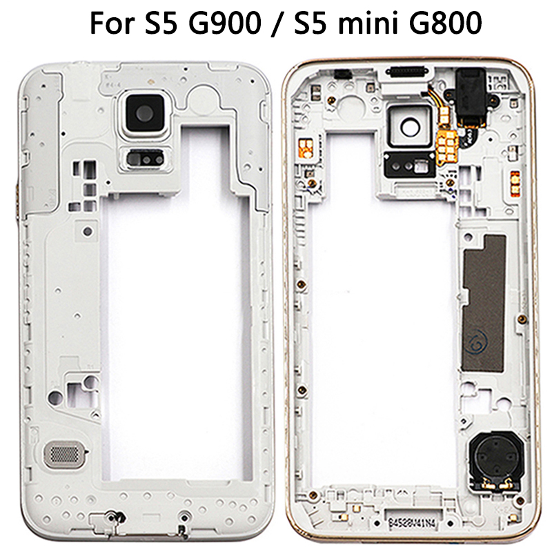 New S5 Middle Frame For Samsung Galaxy S5 G900F G900T G900V G900A / S5 Mini G800 Mid Bezel Housing Plate Small Parts Gold/Sliver