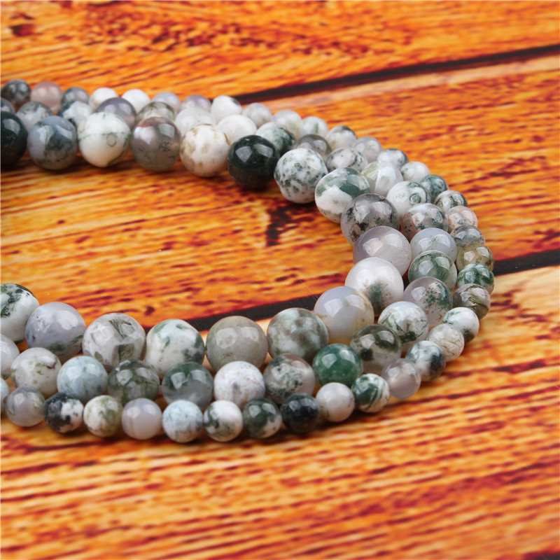 Tree Grain Agate Natural Stone Bead Round Loose Spaced Beads 15 Inch Strand 4/6/8/10/12mm For Jewelry Making DIY Bracelet