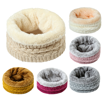 Unisex Winter Neck Scarf Women Warm Fur Thick Snood Knitted Ring Scarves Children Outdoor Solid Cashmere Beanie Bufanda - discount item  50% OFF Scarves & Wraps