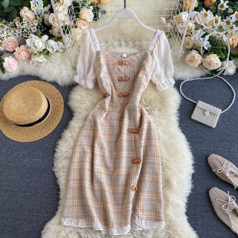 High Quality2020 Summer Korea Fashion Women Elegant Slim Plaid  Square Collar  Puff Sleeve A-Line  Short Dress H633